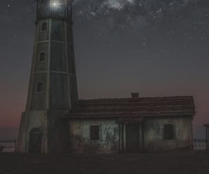 lighthouse, night, and ocean image