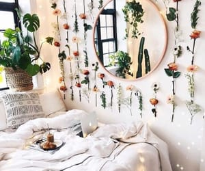 bedroom, flowers, and plants image