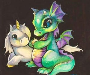 unicorn, dragon, and art image
