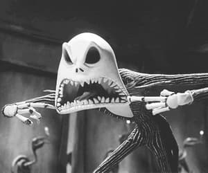 black and white, Halloween, and jack skellington image