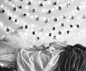bedroom, decor, and fairylights image