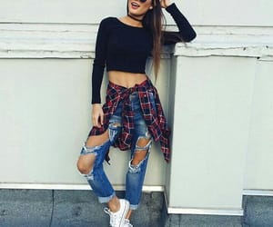 fashion, ripped jeans, and glasses image
