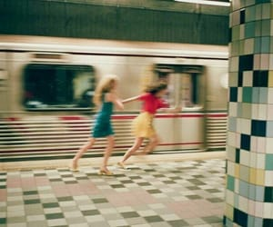girl, subway, and vintage image