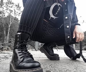 aesthetic, alternative, and black boots image