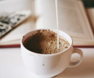 coffee, book, and drink image