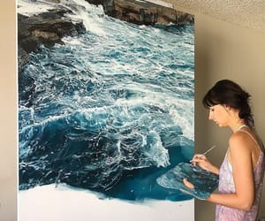 art, ocean, and paint image