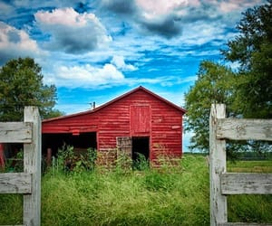 barn, fence, and country image