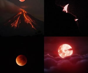 space, red moon, and volcano image