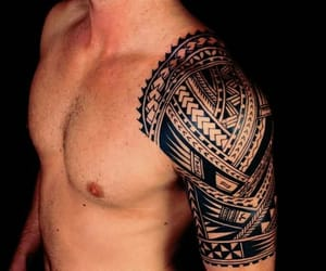tribal, shoulder tattoos, and tribal tattoos image