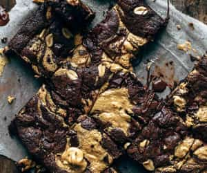 brownie, peanut butter, and cake image