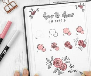 notes, rose, and notebook image