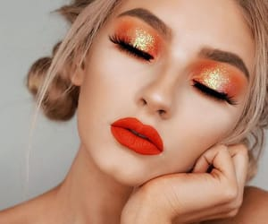 makeup, orange, and beauty image