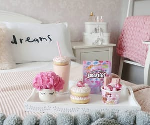 donuts, pink, and room interior image