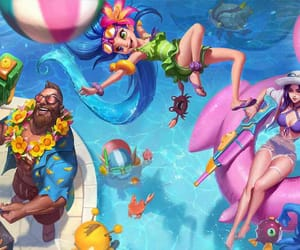 lol, pool party caitlyn, and party image