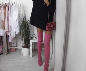 boots, pink, and thigh high image