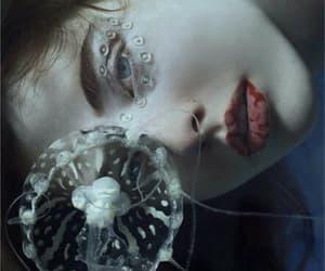 girl, jellyfish, and sea image
