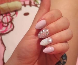 beauty, almond nails, and blue nails image