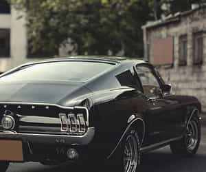 car, mustang, and black image