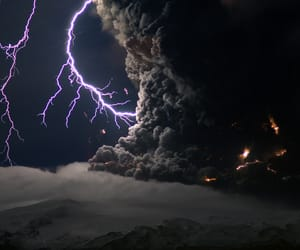 lightning, photography, and volcano image
