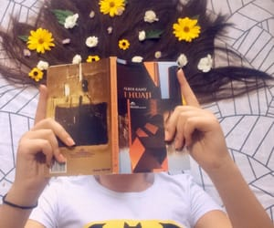 books, girl, and flower image