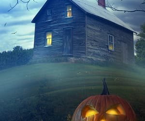 autumn, Halloween, and haunted house image
