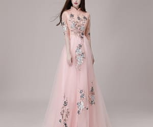 evening dress, long dress, and pearl pink dress image