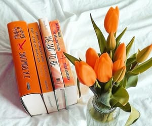 books, comfort, and flowers image