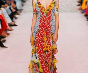 Carolina Herrera, floral dress, and model image
