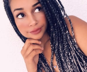 braids, silver hair, and box braids image