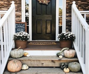 pumpkins, fall deco, and fall entrance image