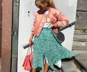 fashion, bomber jacket, and heels image