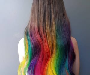 hair, rainbow, and color image