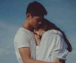 blue sky, boyfriend, and hugs image