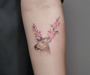 arm tattoo, beautiful, and deer image