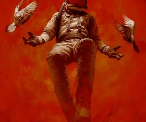 red, wallpaper, and astronaut image