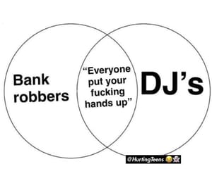 dj, funny, and hands up image