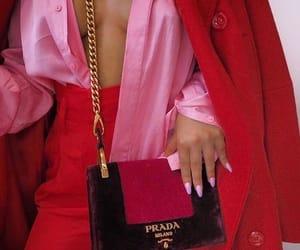 handbag, outfit, and Prada image