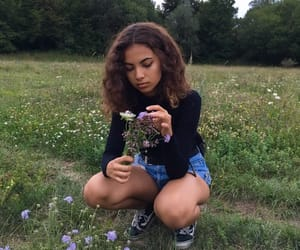 girl, flower field, and flowers image