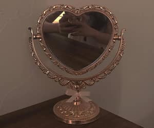 heart, mirror, and vintage image