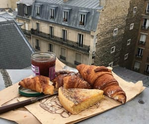 breakfast, jam, and croissant image
