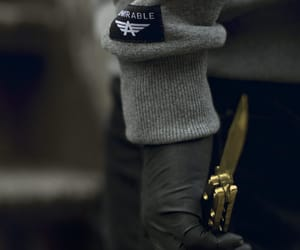 knife, gold, and black image
