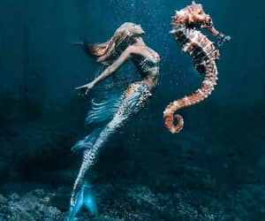 mermaid, beautiful, and ocean image