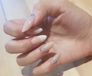 beauty, french nails, and glitter image