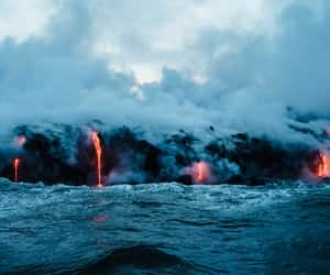 water, landscape, and lava image