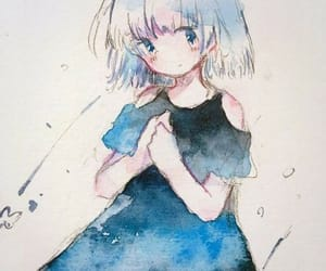blue, girl, and watercolour image