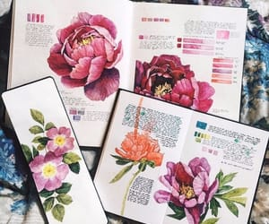 art, journal, and flowers image