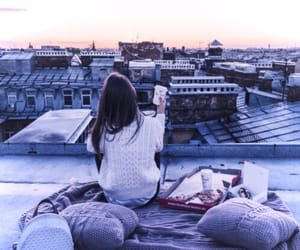 girl, purple, and city image