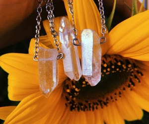 crystal, crystal necklace, and flower image