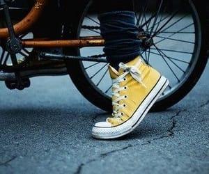 yellow, converse, and bike image