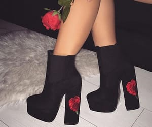 black boots, black shoes, and boots image